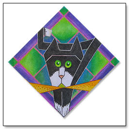 Origami the Cat Painted Needlepoint Canvas